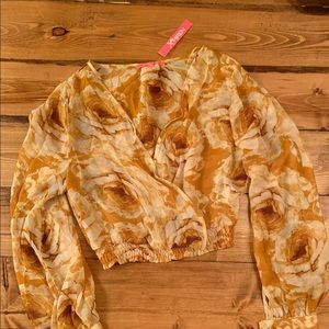 Mustard yellow floral hippie boho blouse